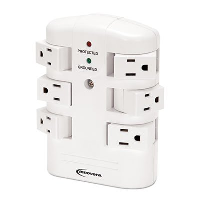 Innovera Wall Mount Surge Protector, 6-Outlets (71651)