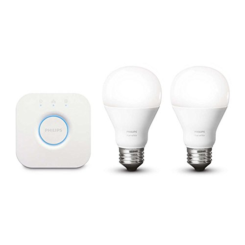 Two 1 Bulb (Philips Hue White A19 60W Equivalent Dimmable LED Smart Light Bulb Starter Kit (2 A19 60W White Bulbs and 1 Bridge, Works with Alexa, Apple HomeKit, and Google Assistant (Certified Refurbished))
