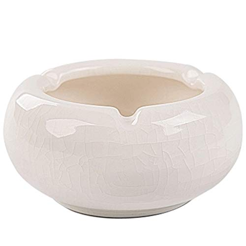 (JLZS Dehua White Porcelain Ice Cracked Ashtray Ceramic Creative Personality Trend Multi-Function Ashtray Living Room Ashtray Without Cover (Color : White))