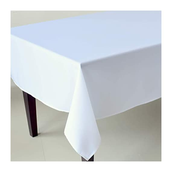 "Stain Resistant White Rectangle Tablecloth Polyester Table Cover - For Kitchen Dining Room Washes Easily Non Iron - Thanksgiving Christmas New Year Eve dinner (WHITE plain, Rectangle 52""x70"") - UNIQUE AND ELEGANT DESIGN: These beautiful tablecloths come in elegant white so that they will suit any space and style. The table linens have a classic plain design that are incredibly chic and discreet so that they can be perfect for everyone IDEAL FOR EVERY OCCASION:The tablecloth will be an amazing addition to every event decoration and every family dinner. Use these amazing table linens for weddings, Thanksgiving, X-mas, New Year Eve, parties or holiday dinners. The white tablecloth will look amazing on your Christmas or Thanksgiving dinner table! INCREDIBLY EASY TO CARE:Forget about the tablecloths that get stains all over and look like a mess! Thistablecloth is made with stain resistant fabric and it is incredibly easy to wash and takecare of. And no need to worry about ironing! These tablecloths will always look flawless without any ironing! - tablecloths, kitchen-dining-room-table-linens, kitchen-dining-room - 31NUylQP9wL. SS570  -"