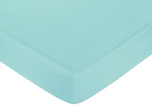 Sweet Jojo Designs Fitted Crib Sheet for Turquoise and Gray Chevron Zig Zag Baby/Toddler Bedding - Turquoise