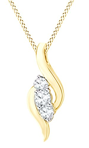 Jewel Zone US Simulated White Sapphire Three Stone Bypass Pendant Necklace In 14K Gold Over Sterling Silver by Jewel Zone US