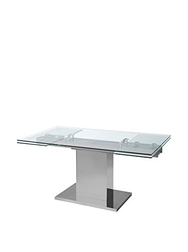 World Mod Modern Slim Extendable Dining Table, 30 x 35 x 55 , Clear Silver