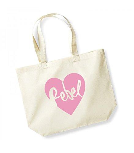 Slogan Heart Natural Canvas Unisex pink Rebel Tote Cotton Bag CaSwU