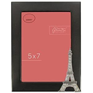 5 x 7 shiny black eiffel tower picture frame with rhinestones