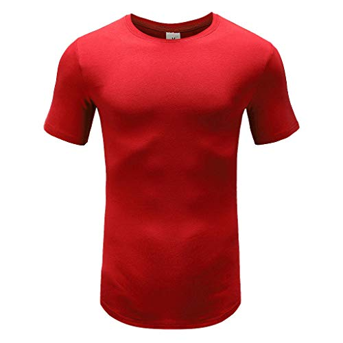Dressin Summer Men's T-Shirts, Mens Solid Color Tees Slim-fit Muscle Short Sleeve Tops Crew Neck Tech Shirt Red