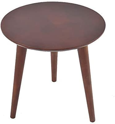 WoodShine Side Table Small Round Solid Wood Sofa Table End Tables Accent Nesting Coffee Table Walnut