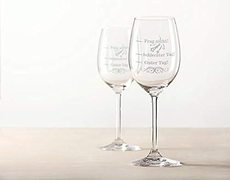 Leonardo XL Copa de vino grabado con buen día, mal día, Frag nicht! – Vaso de humor – Regalo divertido y original – Adecuado como copa de vino tinto y vino blanco V3