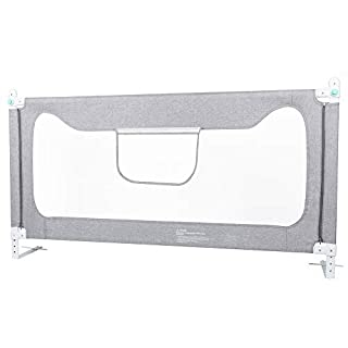 Toddler Bed Rail Guard,Foldable Safety Bed Guard with Vertical Lifting Design for Toddler Kids, Baby Bedrail Side Rails with Y-Strap for Kids Twin, Double, Full Size Queen & King Mattress,Gray