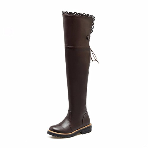 El otoño y el invierno pueden agregar la mujer encajes de cachemir muslo posterior botas botas botas altas de tamaño de amarre Brown (Terry)
