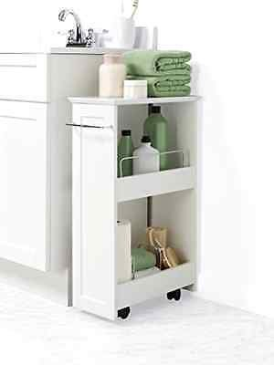 Bathroom Floor Storage Rolling Cabinet Organizer Bath Toilet Towel Shelves  White