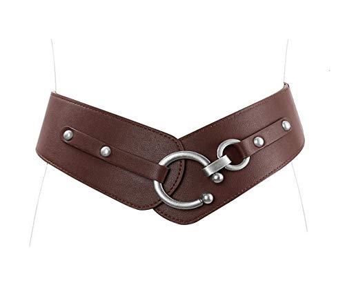 Belt Fashion Wide - JasGood Women's Fashion Vintage Wide Elastic Stretch Waist Belt With Interlock Buckle (Suit Waist 34-38Inch, Coffee)