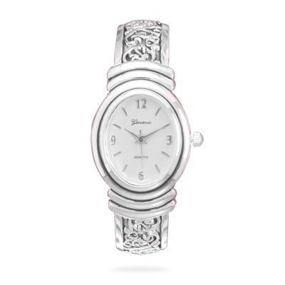 (Women's Oxidized Scroll Design Hinged & White Dial Fashion Cuff Watch)