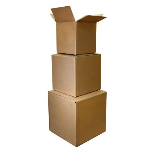 "The Boxery Recycled Corrugated Cardboard Single Wall Standard Cube Box with C Flute, 20"" Length x 20"" Width x 20"" Height, (Pack of 10)"