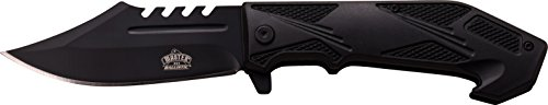 Master USA MU-A042BK Spring Assist Folding Knife, Black Straight Edge Blade, Black Handle, 4.75-Inch Closed Review