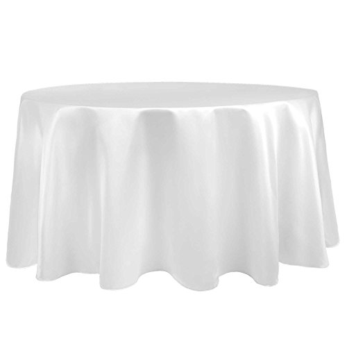 Ultimate Textile (10 Pack) Satin 60-Inch Round Tablecloth - for Wedding, Special Event or Banquet use, White by Ultimate Textile