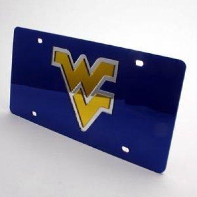 Mirror Acrylic License Plates (West Virginia Mountaineers Inlaid Acrylic License Plate - Blue Mirror Background)