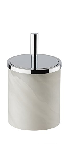 Alabaster Round Cotton Ball Swab Holder, Q Tip Jar for Bathroom (Polished Chrome, Small) by W-Luxury