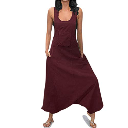 kemilove Women's Baggy Wide Leg Overalls Cotton Linen Jumpsuit Harem Pants Casual Rompers Side Pockets Long Jumpsuits (Wine-A, M) ()