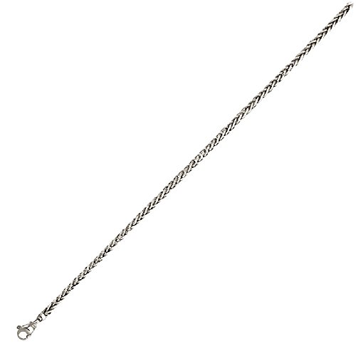 Wheat Solid Chain Platinum - Platinum 3.5mm Solid Wheat Chain Necklace - 20