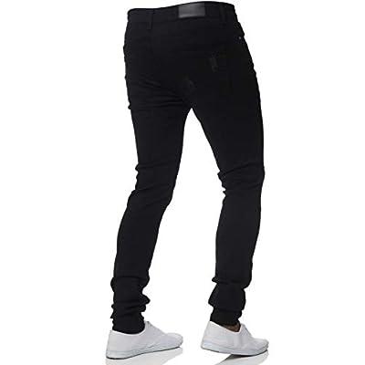 chouyatou Men's Distressed Tapered Leg Ripped Holes Long Denim Pants Jeans (28, Black) at  Men's Clothing store