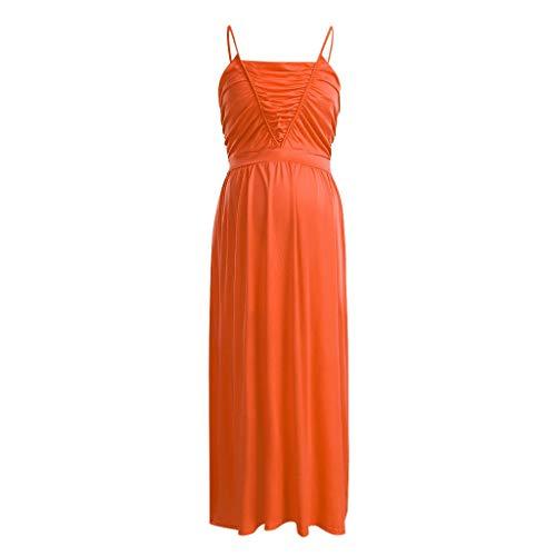 Forthery Women's Spaghetti Strap Sleeveless Ruffles Backless Maternity Pregnanty Dress Solid Long Maxi Dress(Orange,XL=US 10) -