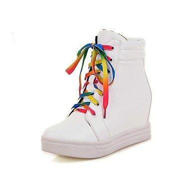 EU40 CN41 Zapatos RTRY Toe Polipiel Mujer Invierno Cuña Lace UK7 Tacón para Vestimenta Botines Botas De Blanco Round Confort Botines US9 Up De Otoño Casual Y Negro xxrSpFw