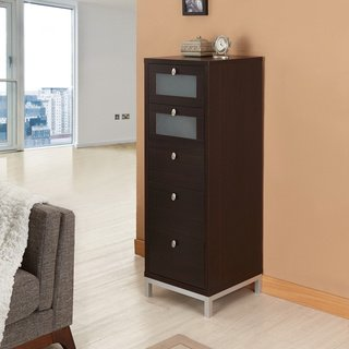 Furniture Of America Brown Five Drawer Storage Cabinet For Office Or Living Room Dimensions