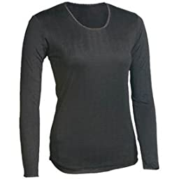 Terramar Womens Thermasilk Silk Long Underwear Shirt, Large, Black