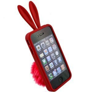 Bunny Skin Case - Bunny Skin Case with Furry Tail for Apple Iphone 4 (Verizon & AT&T), Red