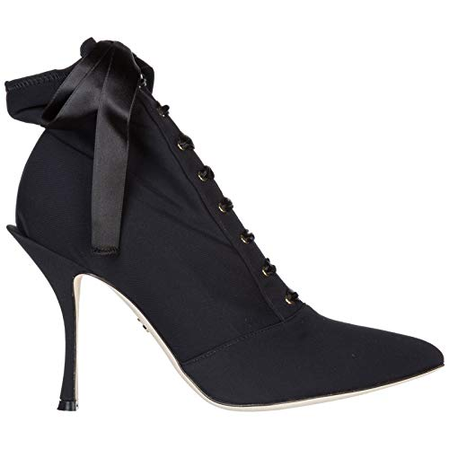 Dolce&gabbana Women's Black Tech Fabric Ankle Boots - Booties Shoes - Size: 8 US