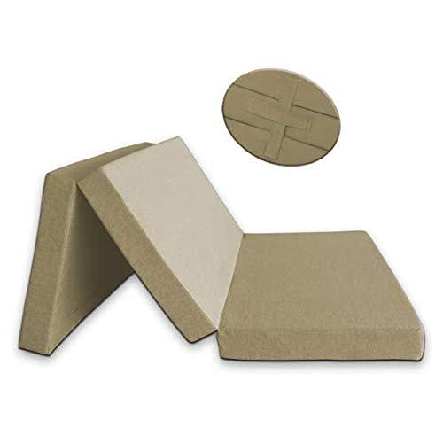 Ventadecolchones - Colchón Plegable con Cierre y Asa 120cm x 190cm x 10cm con Espuma en Densidad 25kg/m3 (extrafirme) y Funda en loneta Premium Crudo