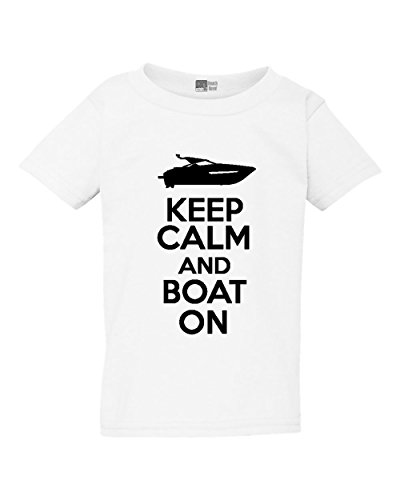 Keep Calm and Boat On Fishing Vessel Funny Toddler Kids T-Shirt Tee (3T, White w/Black)
