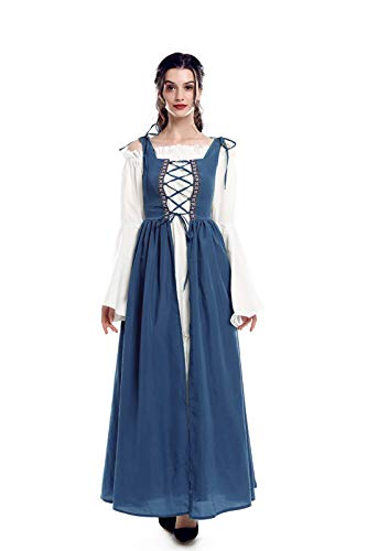 ROLECOS Irish Renaissance Costume Womens Medieval Over Dress and Chemise Boho Set Light Blue -