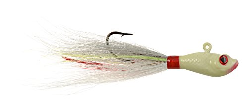 Hurricane 3D Eye Bucktail Jig, Glow, 1/2-Ounce (Bucktail Jigs Oz 1/2)