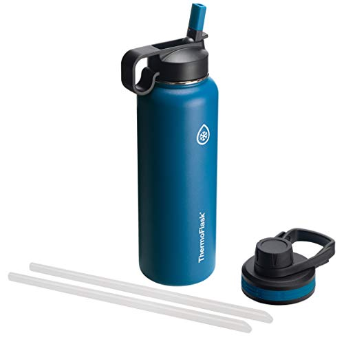 Thermoflask 50064 Double Insulated Stainless Steel Water Bottle with with Chug Lid and Straw Li, 40 oz, Cobalt