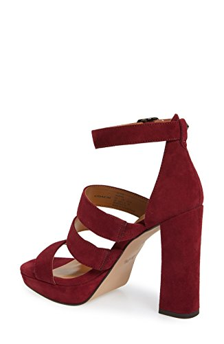 Coach Womens Marina Suede Open Toe Casual Strappy Sandals, Burgundy, Size 5.5