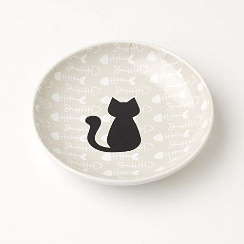 """PetRageous Fishbone Kitty, 5"""" Saucer in Light Taupe/Black, 2.5 oz"""