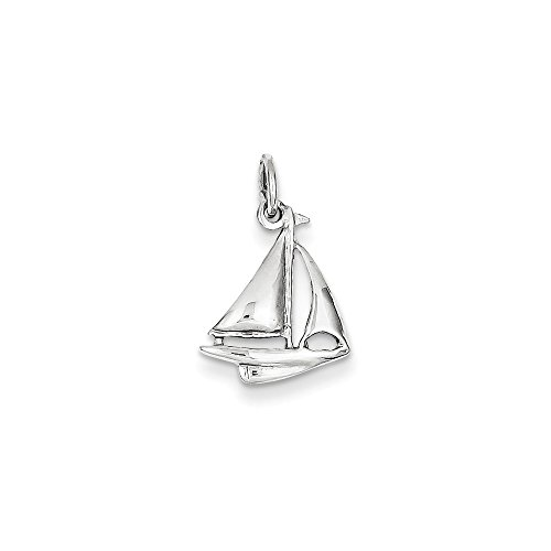 14k White Gold Solid Polish 3-D Sailboat Charm