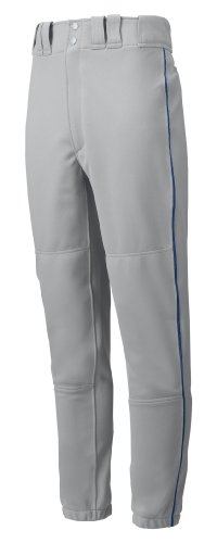 Mizuno Premier Piped Pant (Gray/Navy, X-Small) by Mizuno