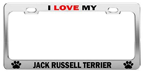 Terrier License Plate Frame (I LOVE MY JACK RUSSELL TERRIER #r Tag License Plate Frame Car Accessories)