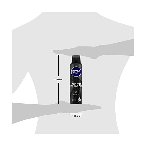 NIVEA Men Deep Impact Freshness Deodorant Spray, 150 ml (Pack of 3) 2021 July Kick-off real freshness with the Nivea men deep impact deodorant The effective formula with black carbon keeps you fresh all day long The antiperspirant formula regulates sweating in your underarms and helps control body odour