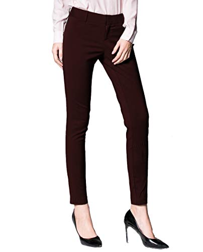 (SATINATO Women's Straight Pants Stretch Slim Skinny Solid Trousers Casual Business Office (6, Dark brown) )