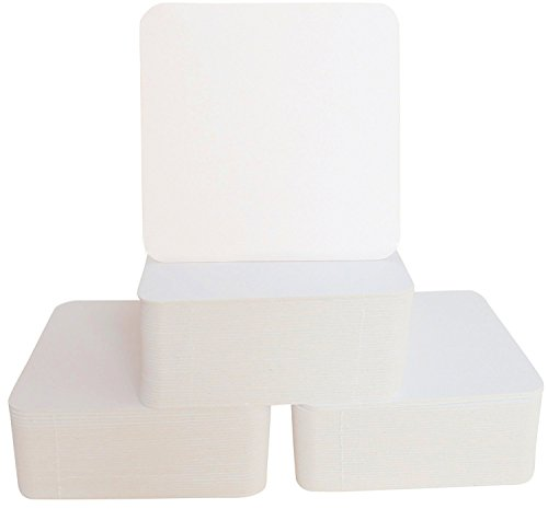 Square Bar Coasters for Drinks and DIY Crafts, 4 Inch, 125 Pack, Off white