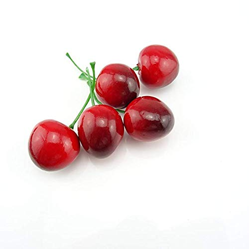 Simulation Fruit Kitchen Decoration WsCrafts 50Pcs Artificial Lifelike Simulation Cherries for Home Decoration Christmas Display 25mm, Red