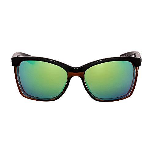 Costa Del Mar (ANA107OGMGLP) Anaa Sunglasses Shiny Black on Brown/Green Mirror ()
