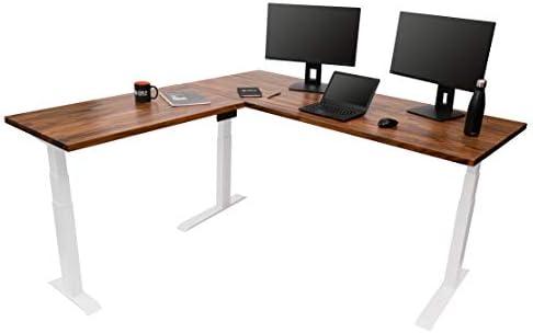 Stand Up Desk Store Triple Motor Electric L-Shaped Corner Standing Desk