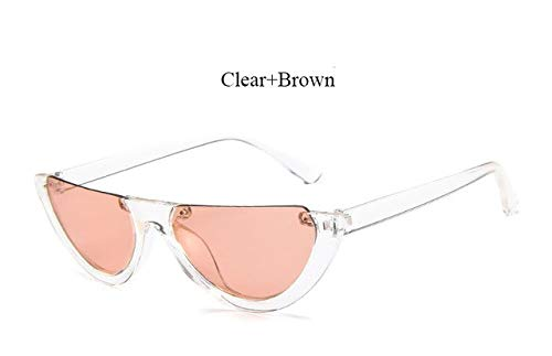 d7b9abd24 Image Unavailable. Image not available for. Colour: Hectare Buy YF312 Clear  Brown: 2018 New half Women Brand Designer Clear Flat Top Sunglasses