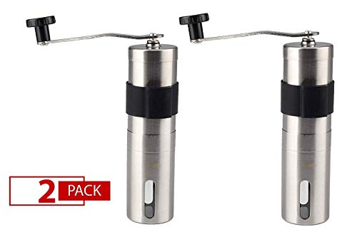 OMNIHIL Large 2-Pack Manual Coffee Grinder Brushed Stainless Steel Conical Burr