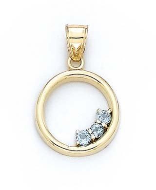 14 carats avec topaze bleue ronde JewelryWeb-Pendentif en forme de cercle